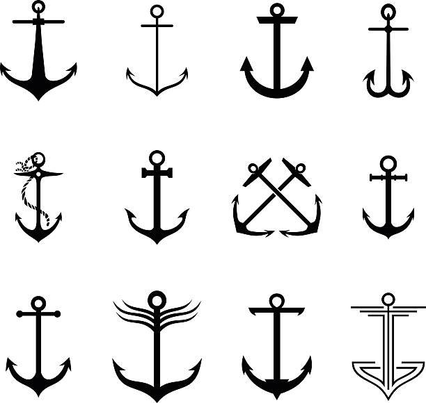 ilustraciones, imágenes clip art, dibujos animados e iconos de stock de anclaje - tatuajes náuticos