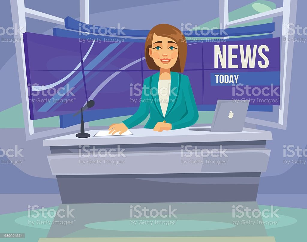 Anchorwoman character on tv. Breaking News. Vector flat cartoon illustration - ilustración de arte vectorial