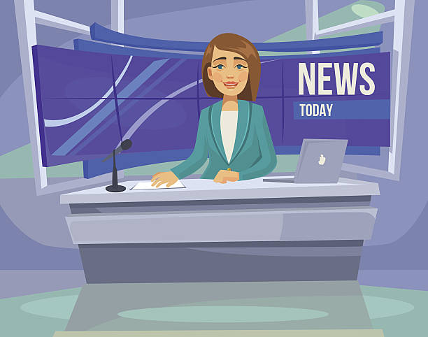 ilustraciones, imágenes clip art, dibujos animados e iconos de stock de anchorwoman character on tv. breaking news. vector flat cartoon illustration - periodista