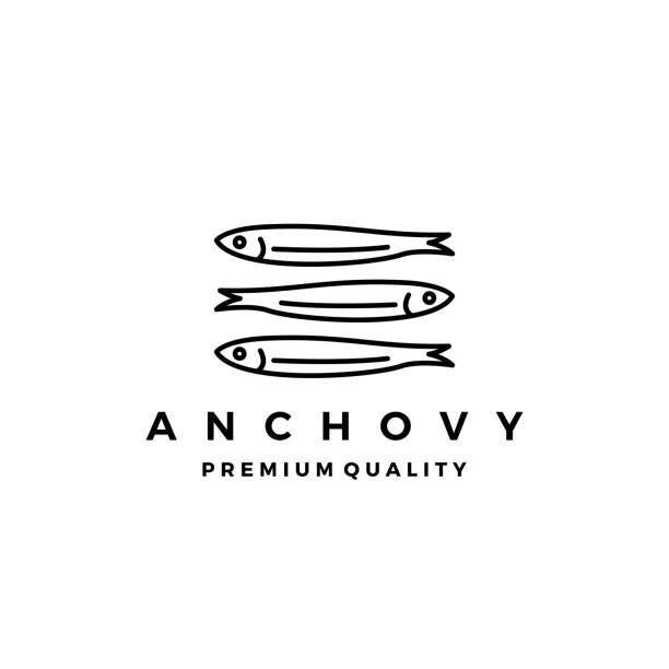 ilustraciones, imágenes clip art, dibujos animados e iconos de stock de pez anchoa vector icono mariscos ilustración - anchoa