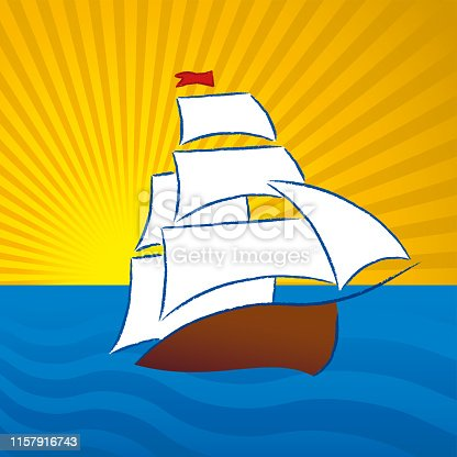 Vector illustration. Ancien boat drawing in plain an clean style.