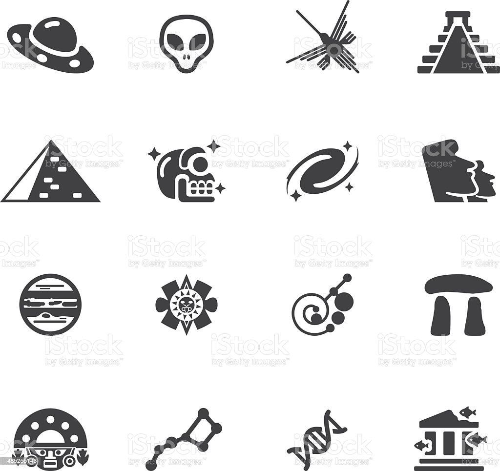 Ancient alien Silhouette icons l EPS 10 vector art illustration
