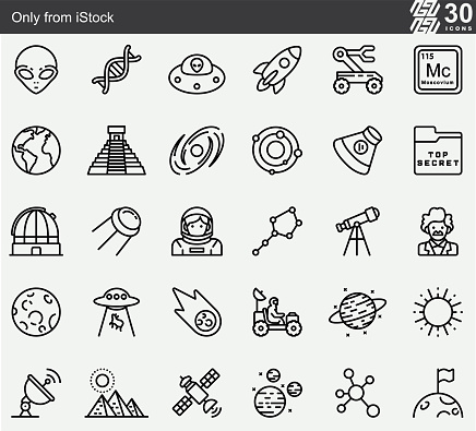 Ancient Aliens , UFO ,  Alien , Science , Space Line Icons