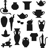 Ancient pottery vector black silhouettes of greek amphora, chinese vase and indian oil lamp. Antique ceramic teapot, copper jug and fire bowls, torch, plate and hookah pipe, cups, columns and jars