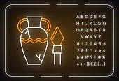 Ancient artifacts neon light icon. Greek amphora. Roman spear. Old culture. Historical discovery. Cracked clay vase. Glowing sign with alphabet, numbers and symbols. Vector isolated illustration