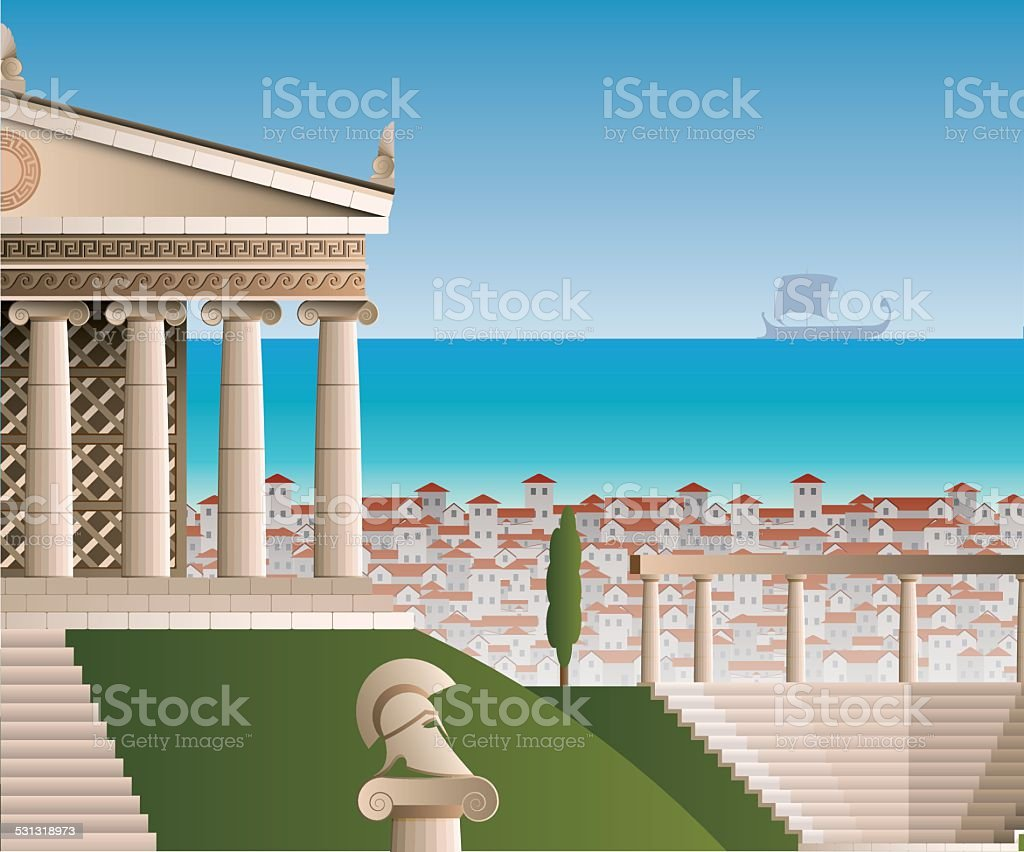 ancient Athens vector art illustration