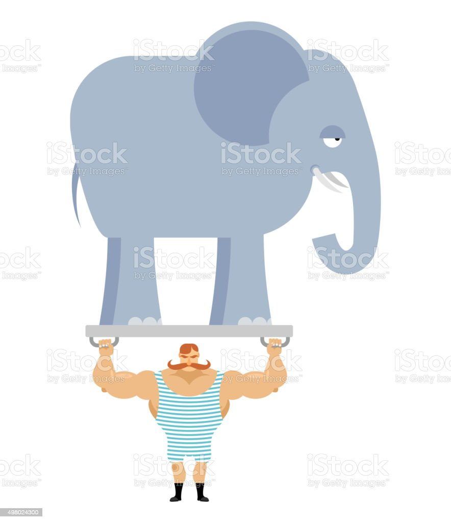 Ancient athlete and elephant. Vintage circus strongman vector art illustration