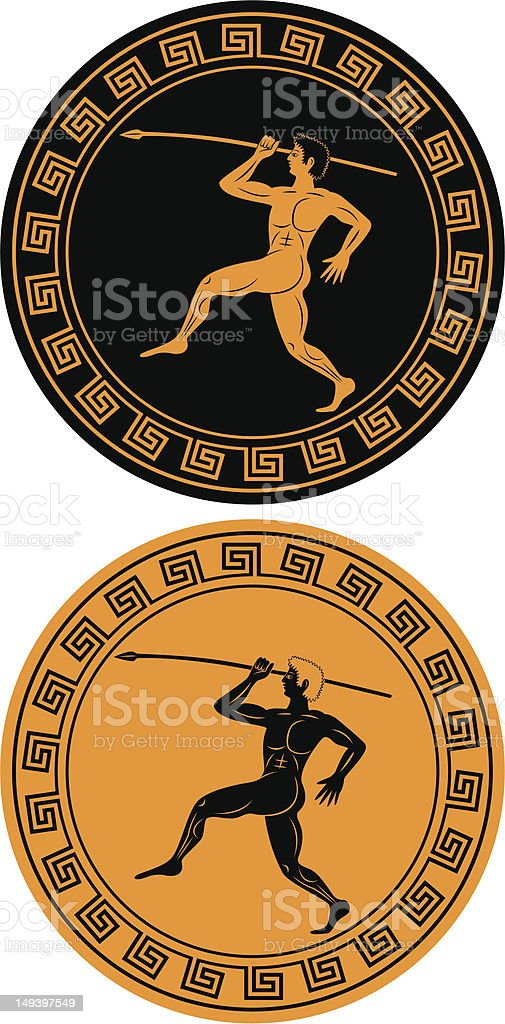 ancient athlete vector art illustration