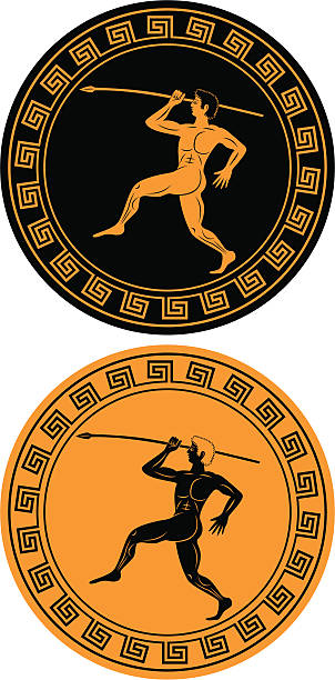 ancient athlete vector art illustration