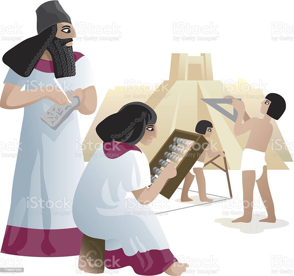 Ancient Babylonian builders under construction a Ziggurat royalty-free stock vector art