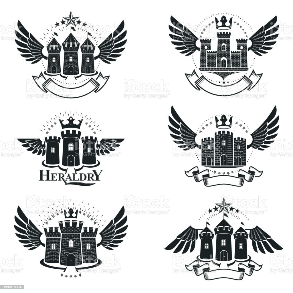 Ancient Bastions emblems set. Heraldic vector design elements collection. Retro style label, heraldry logo. royalty-free ancient bastions emblems set heraldic vector design elements collection retro style label heraldry logo stock vector art & more images of ancient
