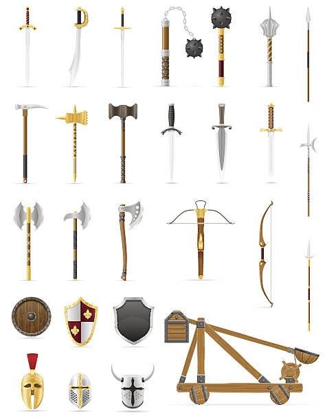 ancient battle weapons set icons stock vector illustration ancient battle weapons set icons stock vector illustration isolated on white background weapon stock illustrations