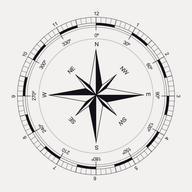 stockillustraties, clipart, cartoons en iconen met ancient black and white compass - kompas