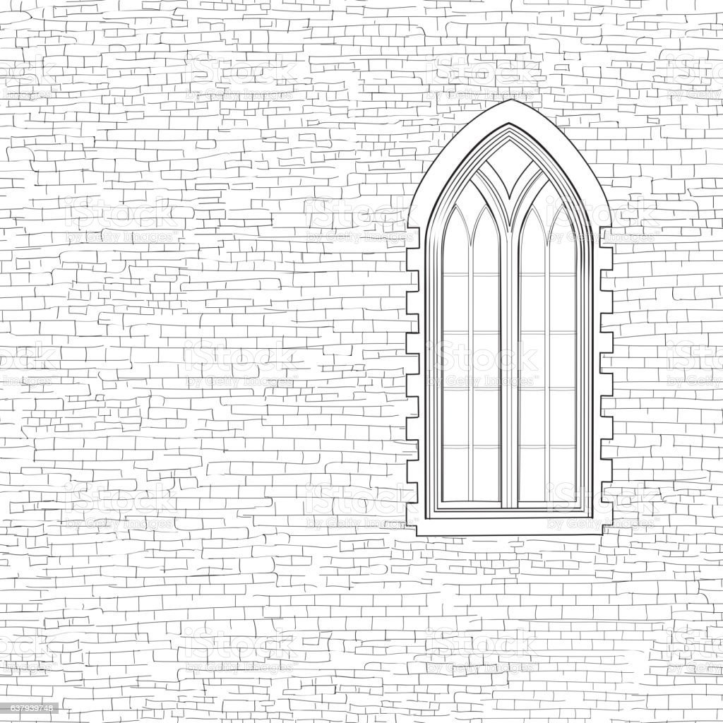 Ancient brick wall background with gothic window. Shabby brick w vector art illustration