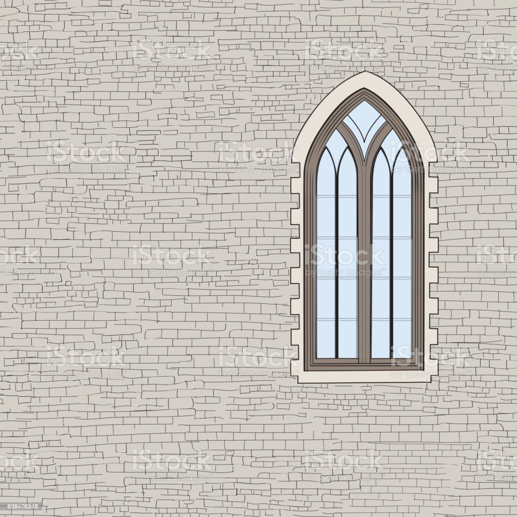 Brick Vector Picture Brick Veneers: Ancient Brick Wall Background With Gothic Window Shabby