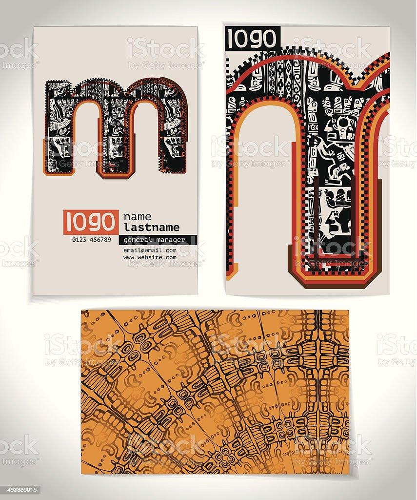 Ancienne Carte De Visite Design Lettre M Cliparts