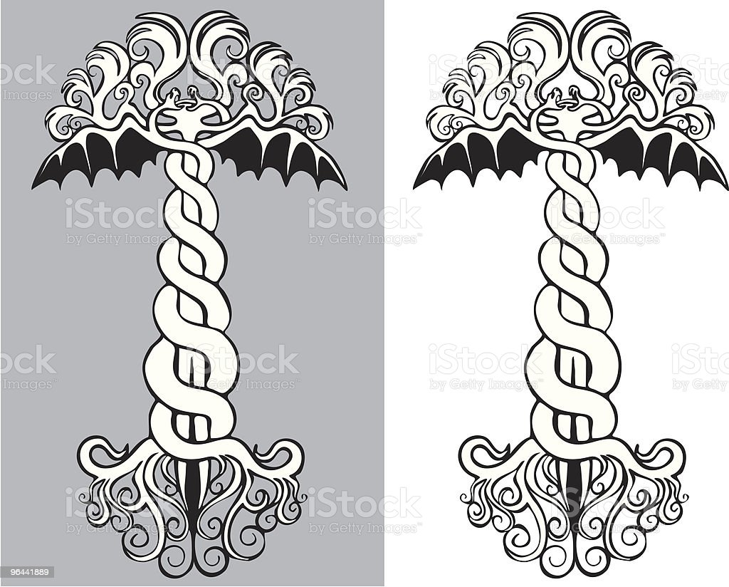 Ancient Caduceus royalty-free stock vector art