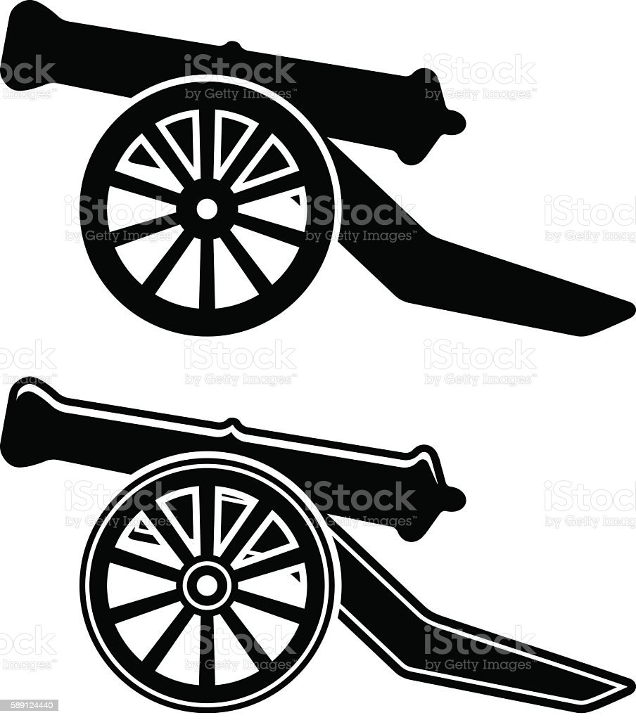 ancient cannon symbol vector art illustration