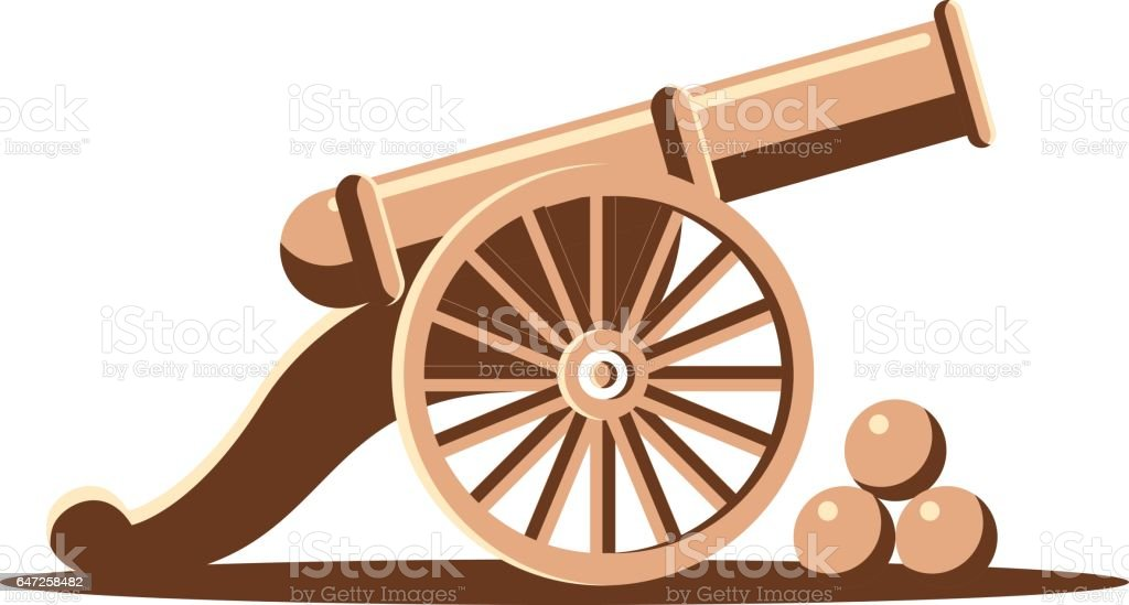 Ancient cannon vector art illustration