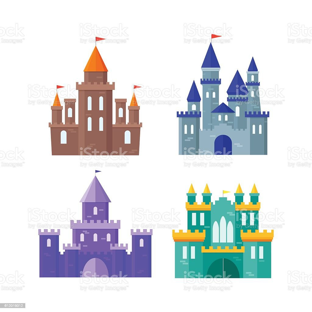 Ancient Castle Building Set. Vector vector art illustration