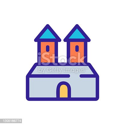 Ancient castle icon vector. A thin line sign. Isolated contour symbol illustration