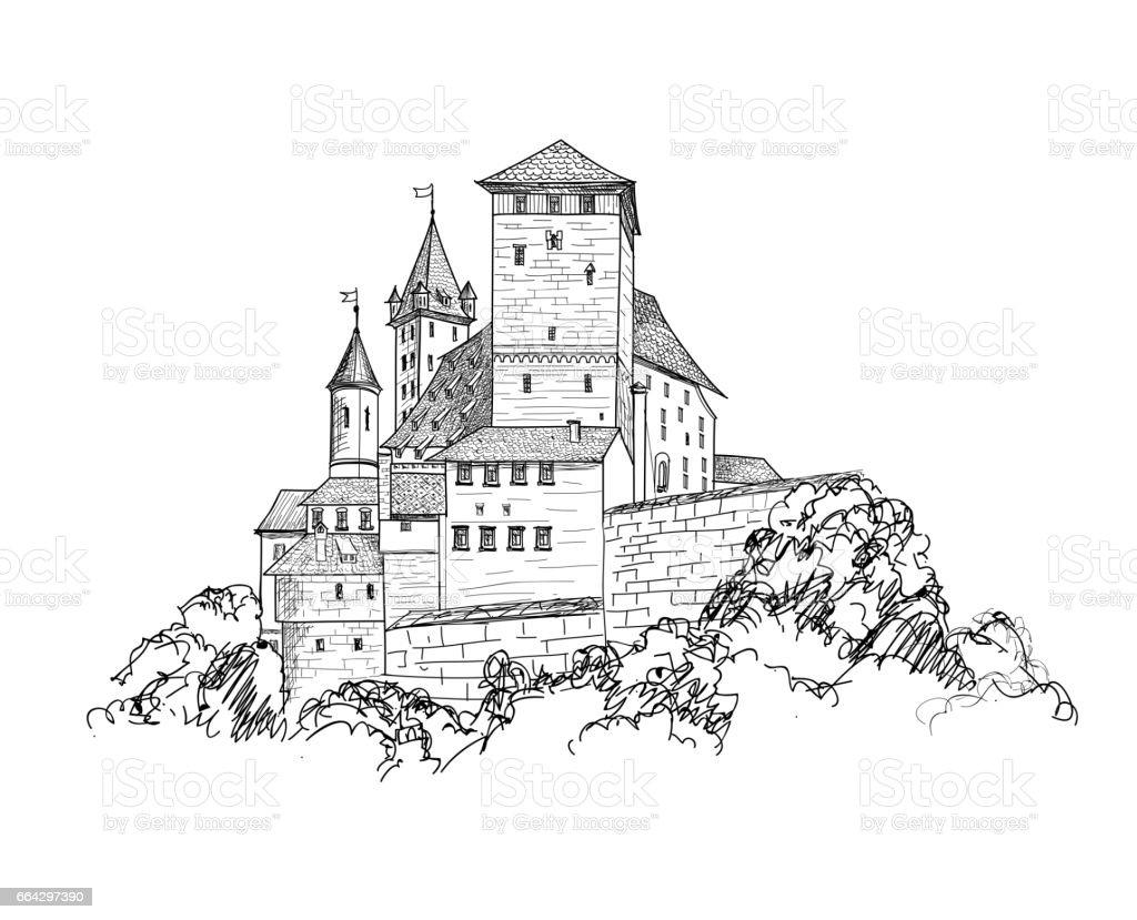 Alte Burg Landschaft Gravur Hochhaus Skyline Von Skizze Lizenzfreies Hochhausskyline