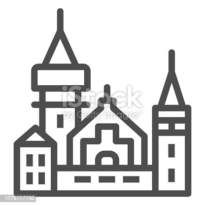 Ancient castle line icon, Halloween concept, Medieval royal castle sign on white background, fairytale magic building icon in outline style for mobile concept, web design. Vector graphics