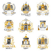Ancient Castles emblems set. Heraldic Coat of Arms decorative signs isolated vector illustrations collection.