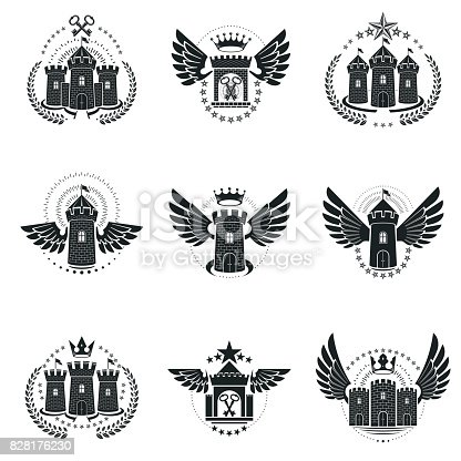 Ancient Castles Emblems Set Heraldic Coat Of Arms Decorative Symbols