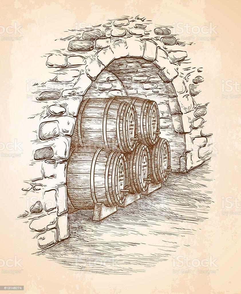 Ancient cellar with wine wooden barrels vector art illustration