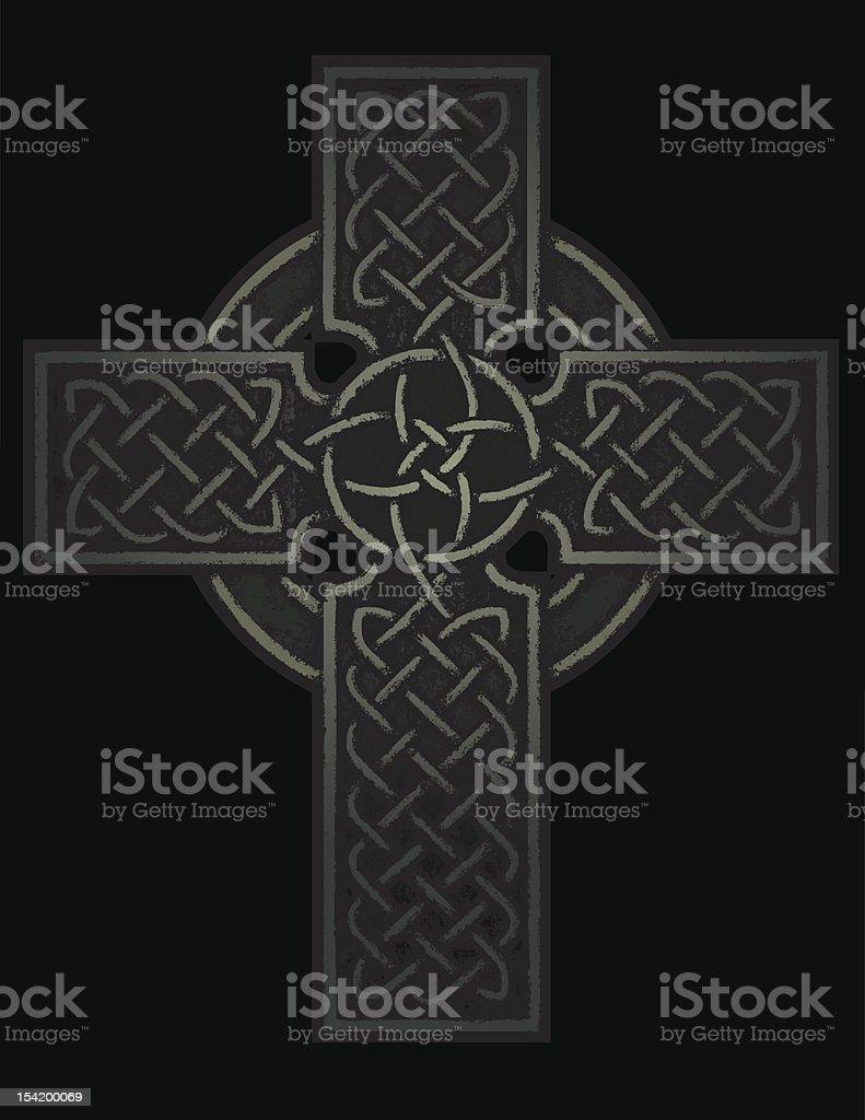Ancient Celtic Cross vector art illustration