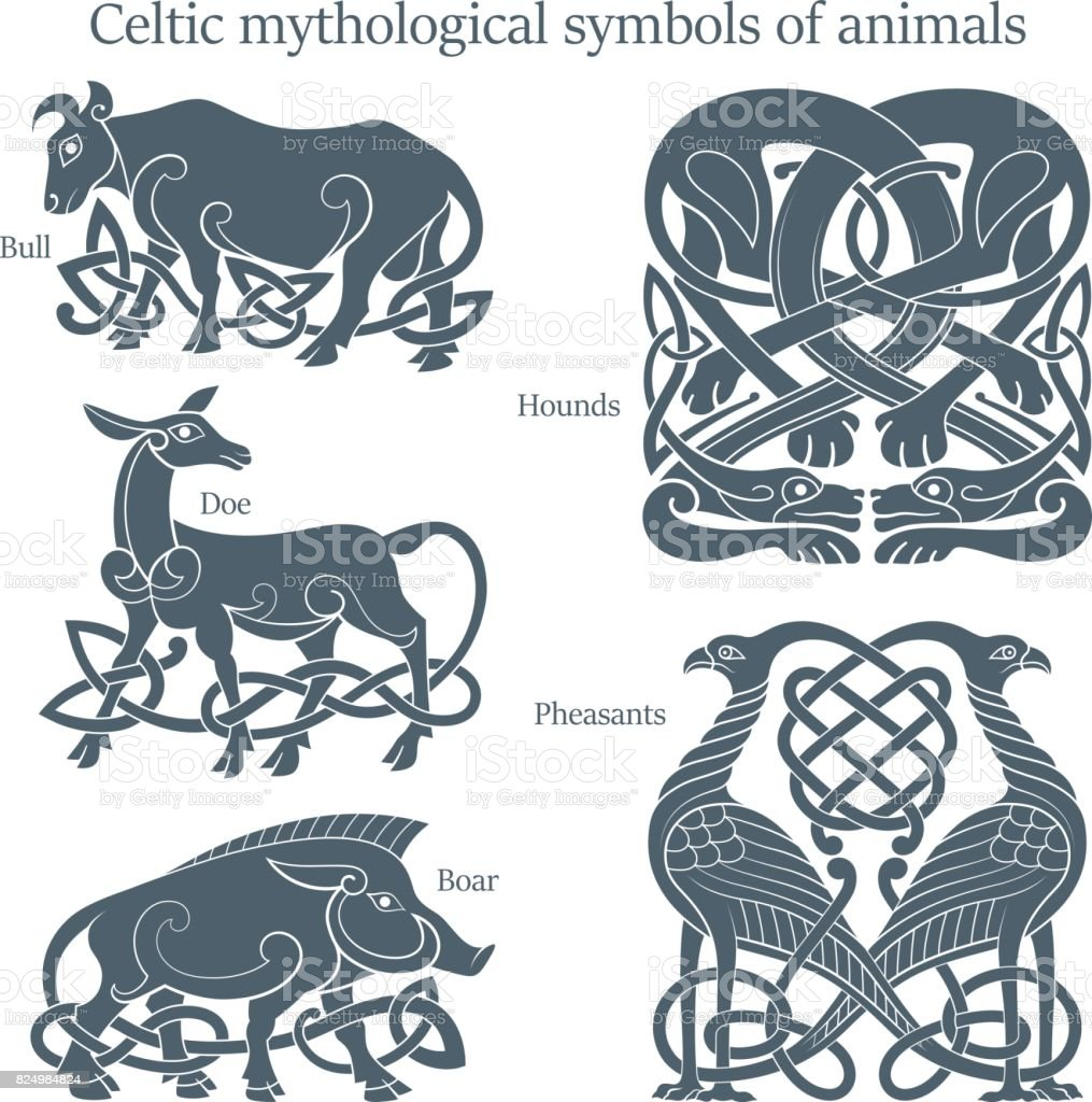 Ancient Celtic Mythological Symbol Animals Set Stock Vector Art