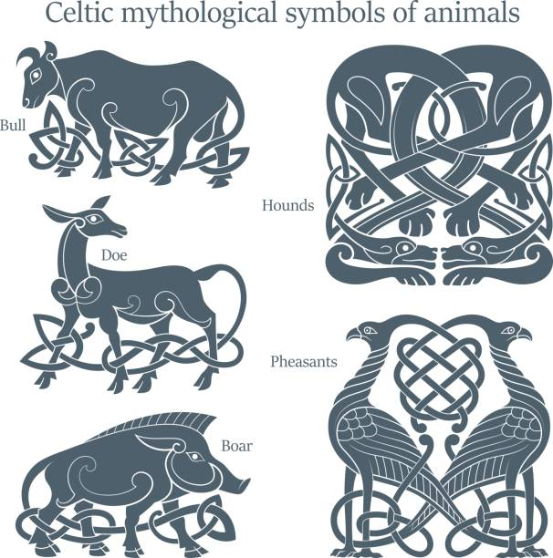 Ancient celtic mythological symbol animals set Ancient celtic mythological symbol animals set. Vector knot ornament. celtic style stock illustrations