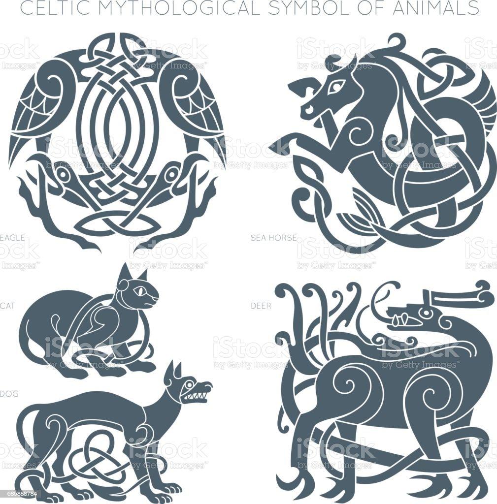 Ancient celtic mythological symbol of animals. Vector illustrati