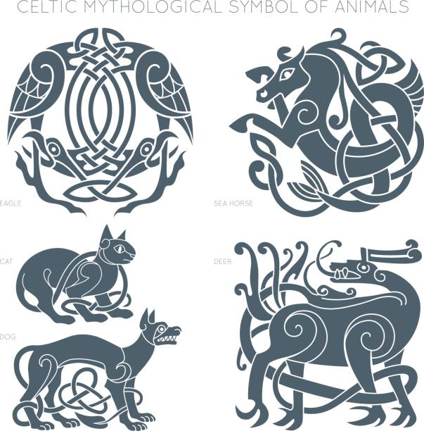 Ancient celtic mythological symbol of animals. Vector illustrati Ancient celtic mythological symbol of animals. Vector knot ornament. celtic style stock illustrations