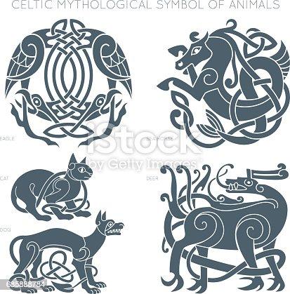 Ancient Celtic Mythological Symbol Of Animals Vector