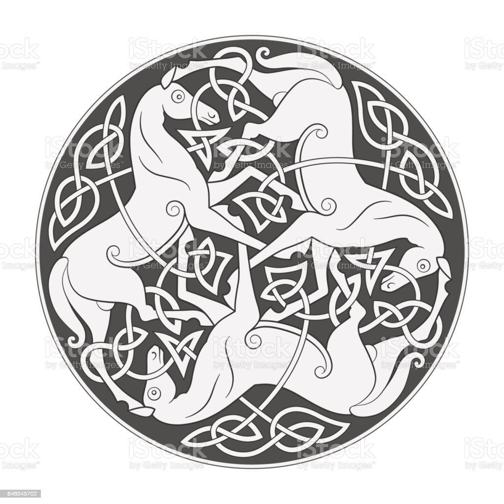 Ancient Celtic Mythological Symbol Of Horse Trinity Stock