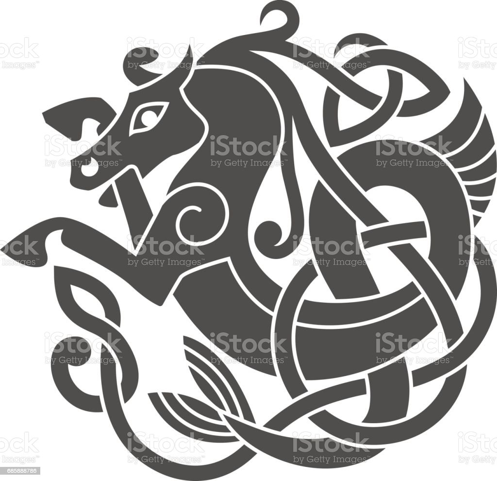 Ancient celtic mythological symbol of sea horse. vector art illustration