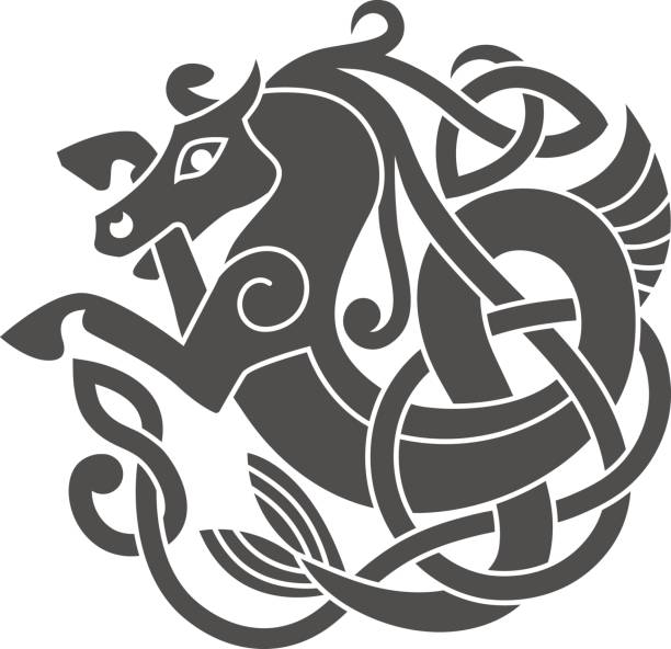 Ancient celtic mythological symbol of sea horse. Ancient celtic mythological symbol of sea horse. Vector knot ornament. celtic knot stock illustrations