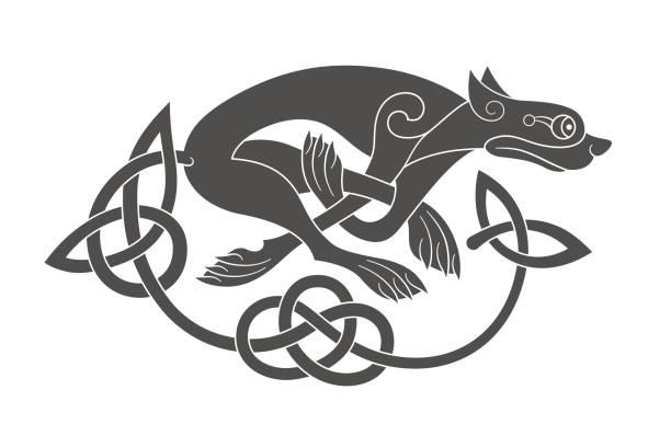 illustrations, cliparts, dessins animés et icônes de ancien symbole mythologique celtique de loup, chien, bête - tatouages celtiques