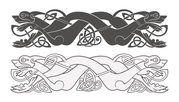 ancient celtic mythological symbol of wolf, dog, beast - celtic tattoos stock illustrations, clip art, cartoons, & icons