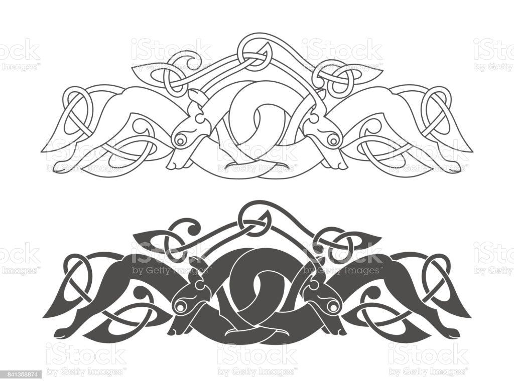 Ancient Celtic Mythological Symbol Of Wolf Dog Beast Vector K Stock ...
