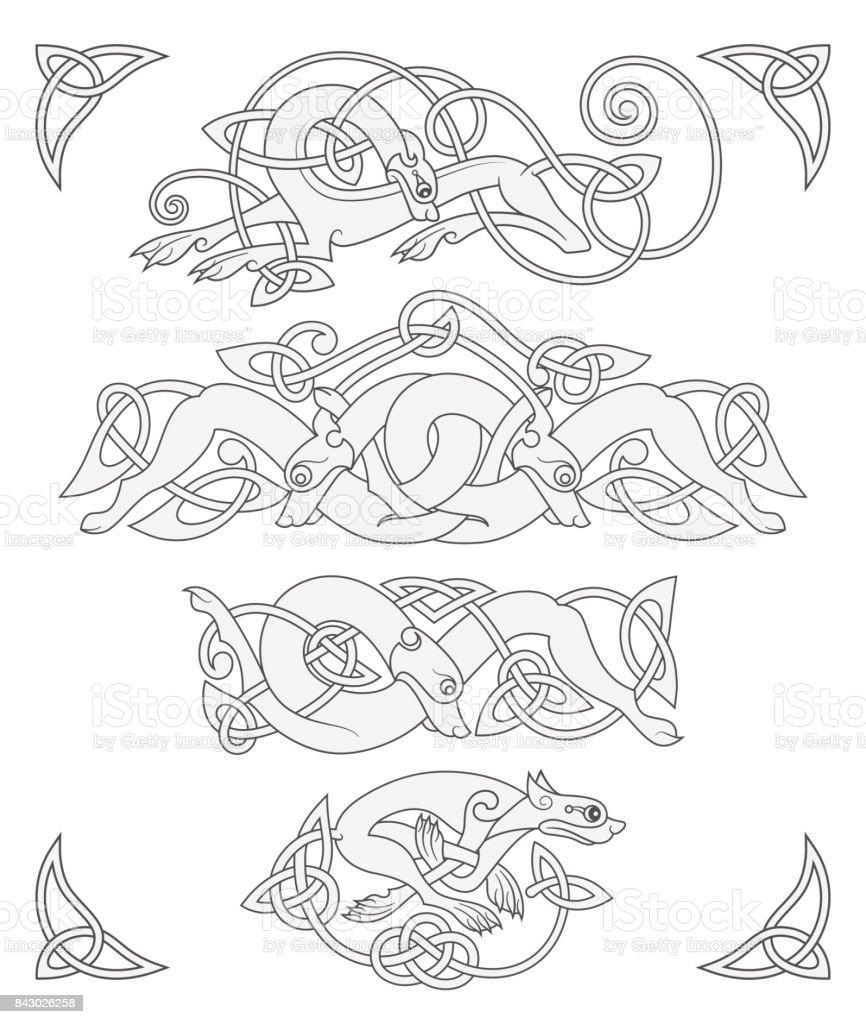 Ancient Celtic Mythological Symbol Of Wolf Dog Beast Vector Knot ...