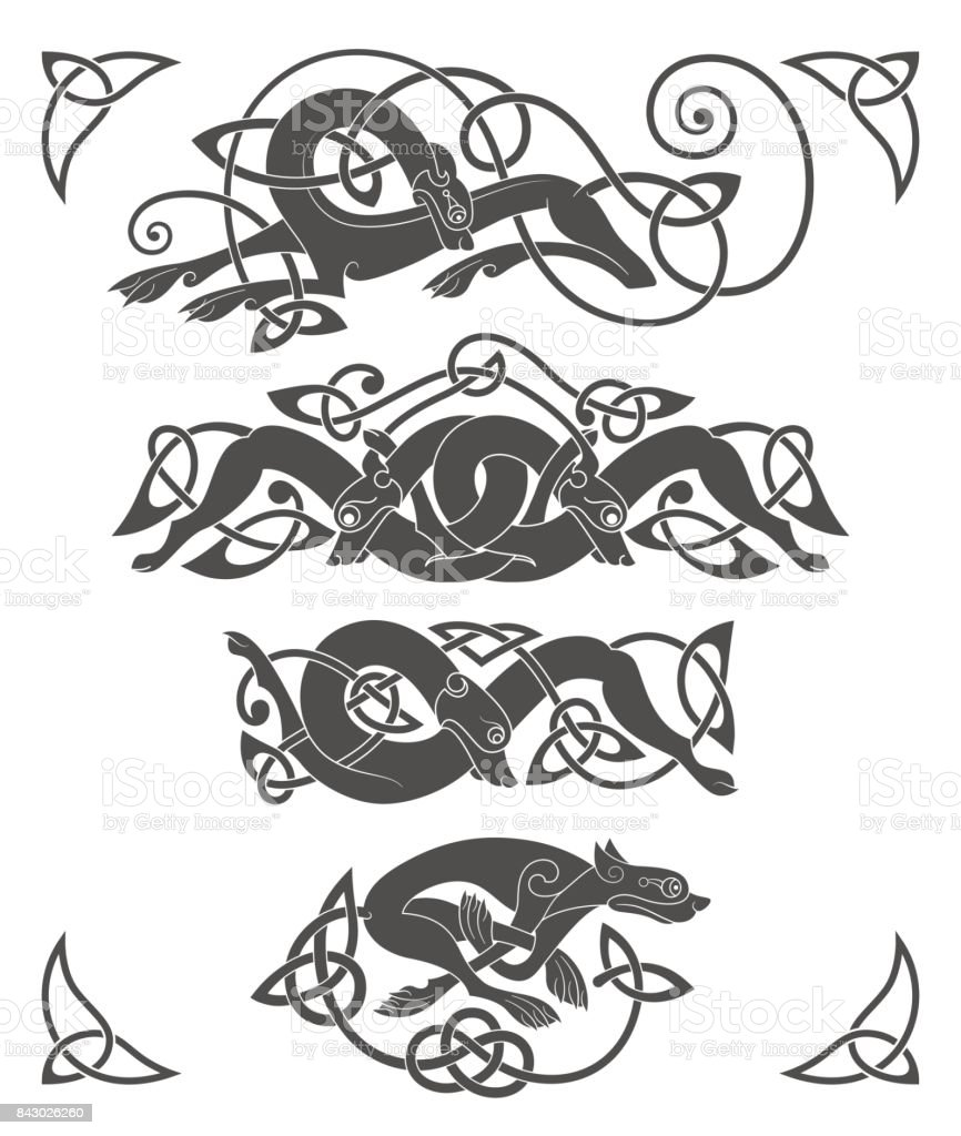 Ancient Celtic Mythological Symbol Of Wolf Dog Beast Vector Knot
