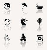 Ancient China. Vector icons.