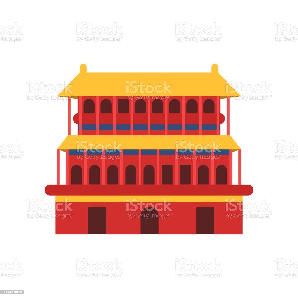 古代中国の建築塔寺のアイコン中...