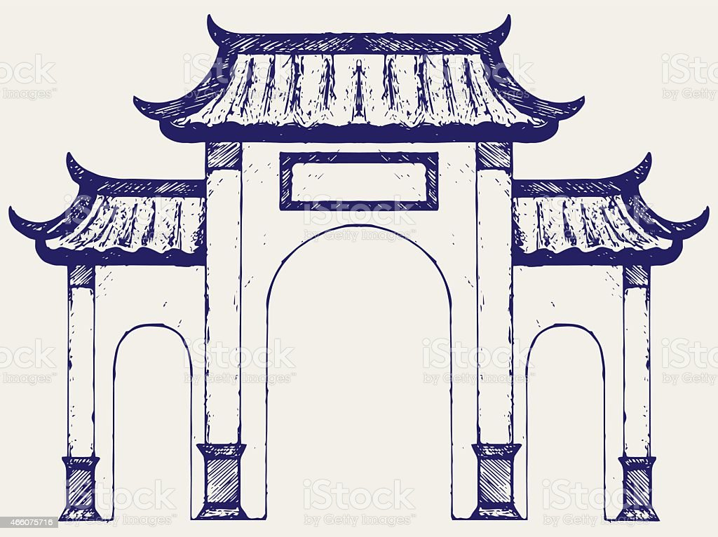 Ancient Chinese Gate Royalty Free Stock Vector Art Amp More Images
