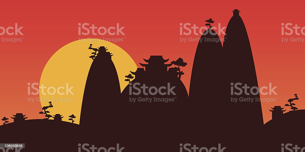 Ancient chinese landscape royalty-free stock vector art