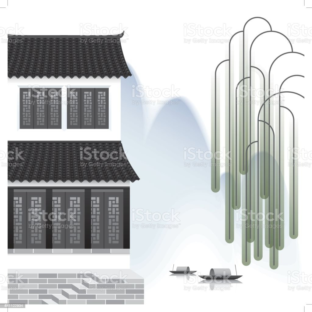 ancient chinese town with a mountain background d vector art illustration