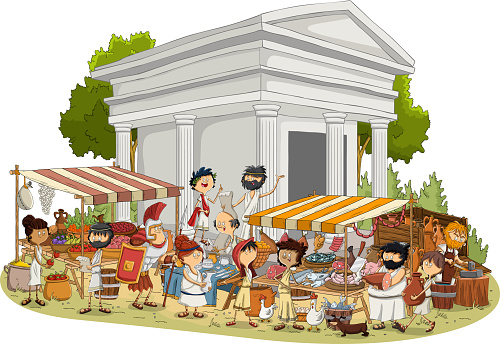 Ancient civilization with people working.